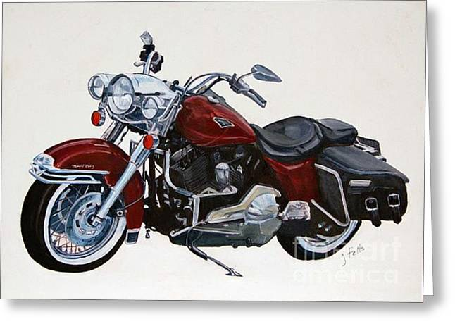 Harley Road King Greeting Card by Janet Felts