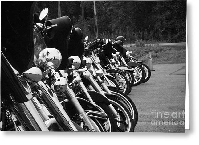Harleys All In A Row Greeting Card