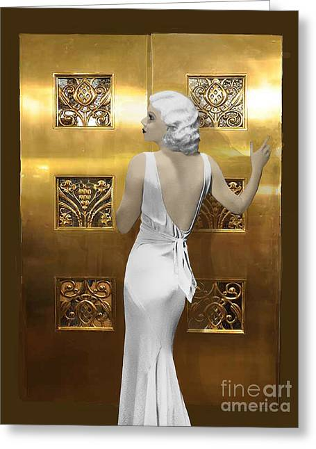 Harlow Art Deco Doors Greeting Card by Maureen Tillman