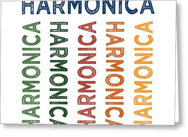 Harmonica Cute Colorful Greeting Card