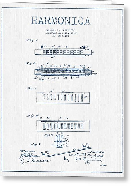 Harmonica Patent Drawing From 1897  - Blue Ink Greeting Card