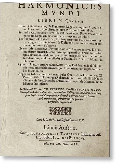 'harmonices Mundi' (1619) Greeting Card by Library Of Congress