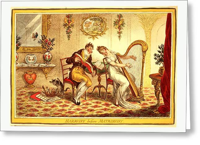 Harmony Before Matrimony, Gillray, James Greeting Card by English School