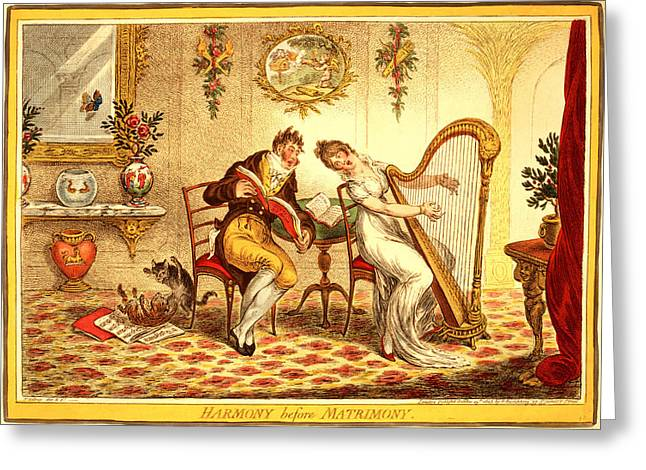 Harmony Before Matrimony, Gillray, James Greeting Card by Litz Collection