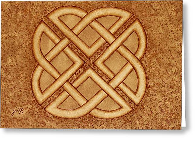 Harmony Celtic Knot Original Coffee Painting Greeting Card by Georgeta Blanaru