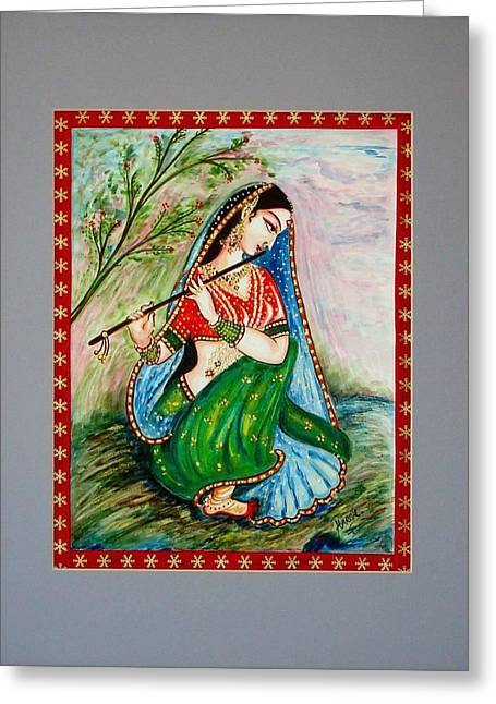 Greeting Card featuring the painting Harmony by Harsh Malik