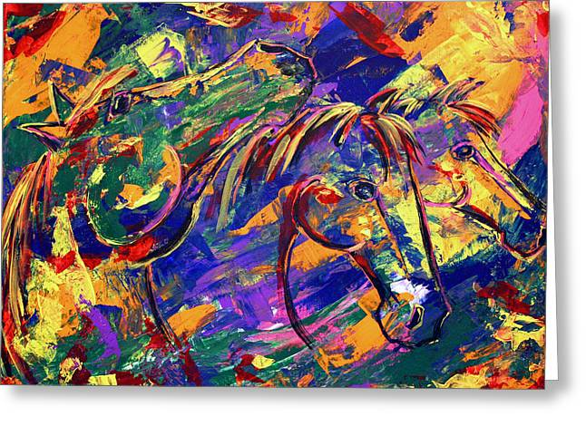 Greeting Card featuring the painting Harmony Horses by Jennifer Godshalk