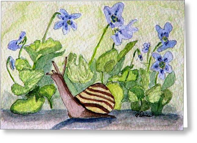 Greeting Card featuring the painting Harold In The Violets by Angela Davies