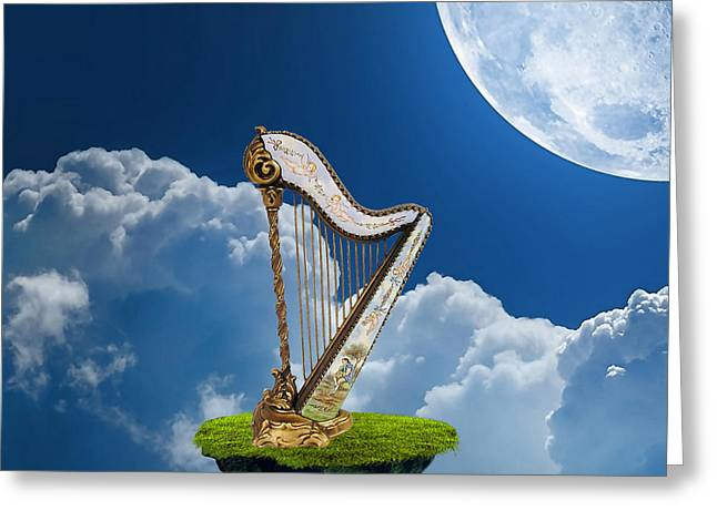 Harp Greeting Card by Marvin Blaine