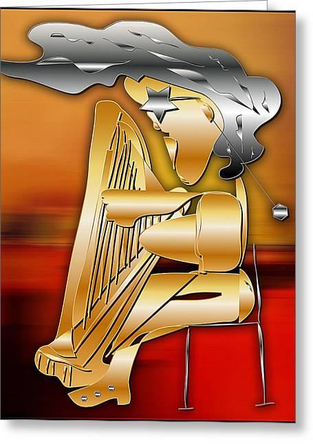 Harp Player Greeting Card by Marvin Blaine