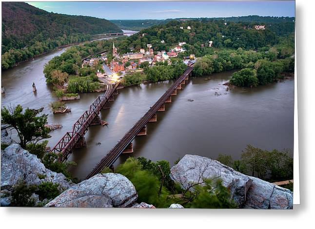 Harpers Ferry From Maryland Heights Greeting Card by Geoffrey Baker