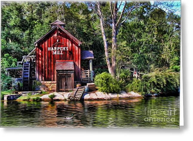 Harper's Mill - Digital Painting  Greeting Card
