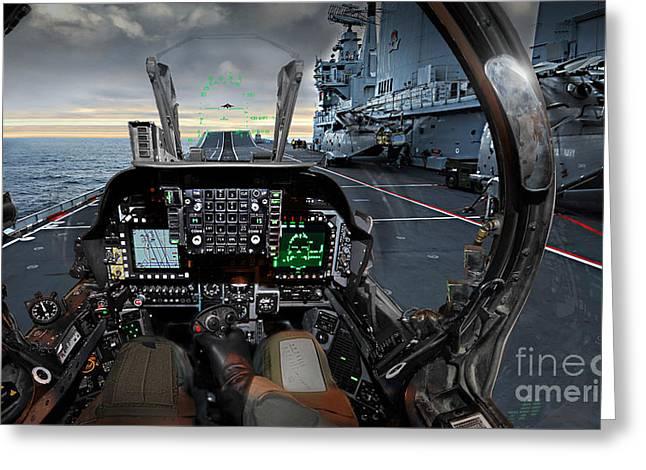 Harrier Cockpit Greeting Card by Paul Fearn