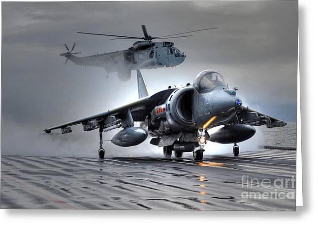 Harrier Gr9 Takes Off From Hms Ark Royal For The Very Last Time Greeting Card by Paul Fearn