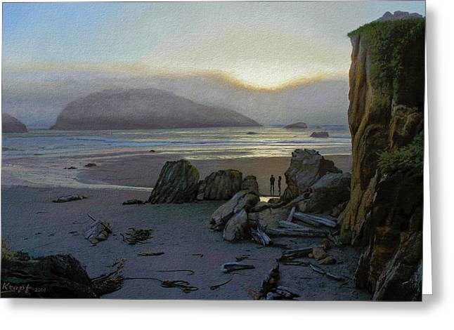 Harris Beach Rendezvous Greeting Card by Paul Krapf