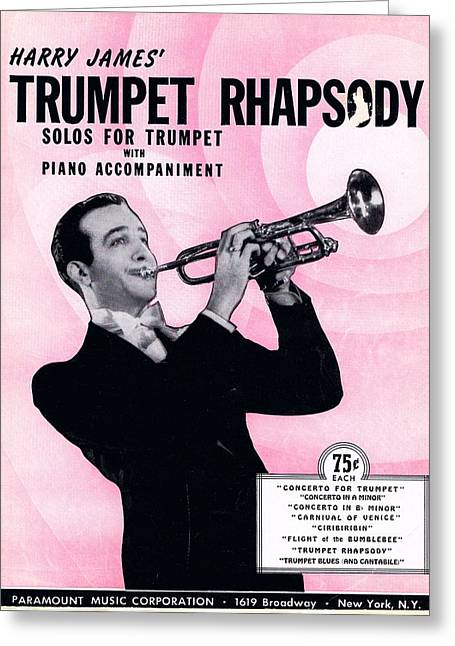 Harry James Trumpet Rhapsody Greeting Card by Mel Thompson