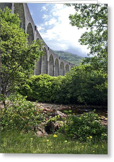 Greeting Card featuring the photograph Harry Potters Glenfinnan Viaduct Scotland by Sally Ross