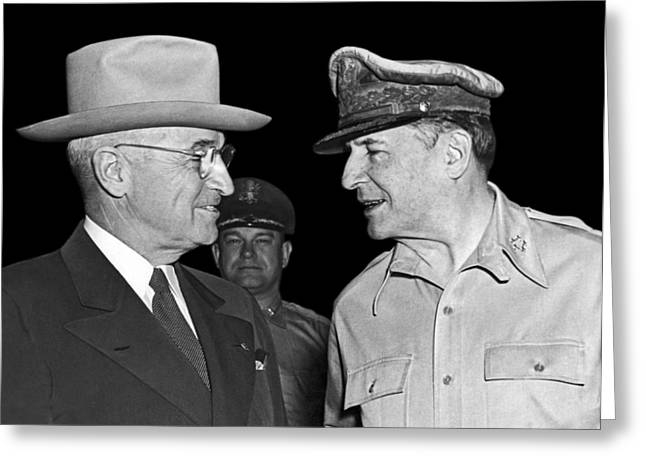Harry Truman And Macarthur Greeting Card by Underwood Archives