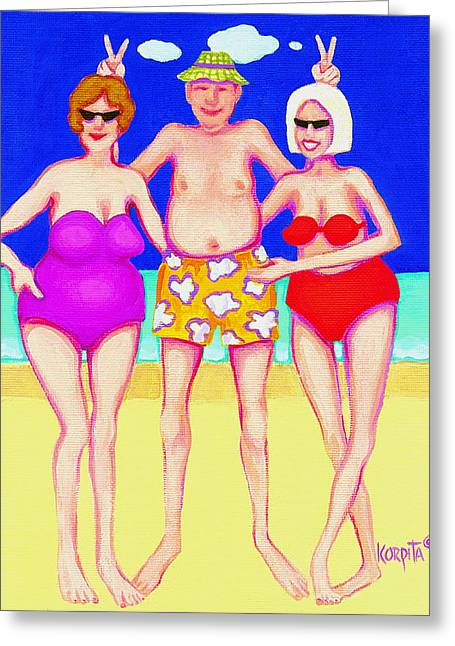 Funny Beach Women Man  Greeting Card by Rebecca Korpita