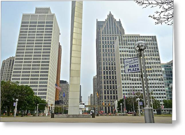Hart Plaza Detroit Greeting Card by Frozen in Time Fine Art Photography
