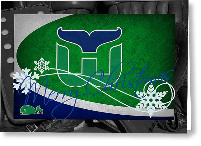 Hartford Whalers Christmas Greeting Card by Joe Hamilton