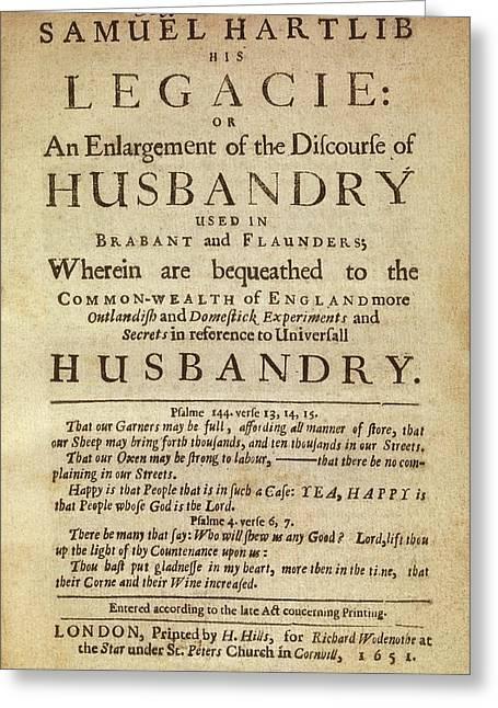 Hartlib's 'legacie' (1651) Greeting Card