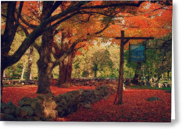 Greeting Card featuring the photograph Hartwell Tavern Under Orange Fall Foliage by Jeff Folger