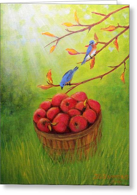 Harvest Apples And Bluebirds Greeting Card by Janet Greer Sammons