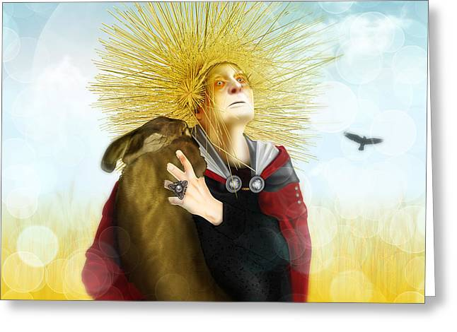 Greeting Card featuring the digital art Harvest Crone by Penny Collins