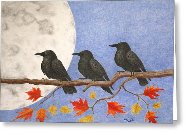Harvest Crows Greeting Card by Alyssa Glosson