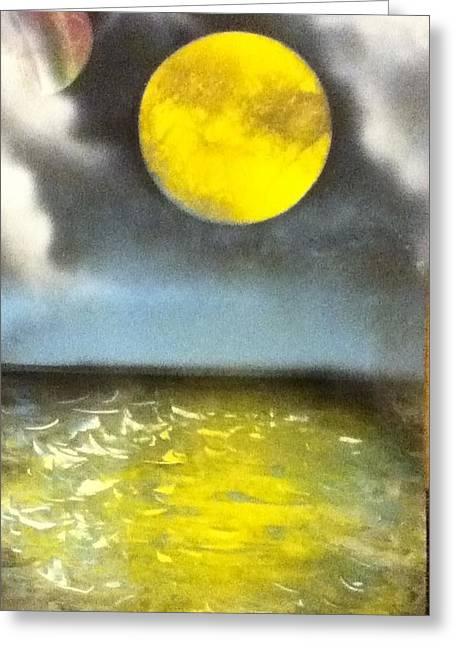 Harvest Moon Greeting Card by Angel Griffin
