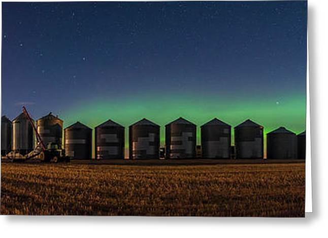 Harvest Moon Aurora Greeting Card by Alan Dyer