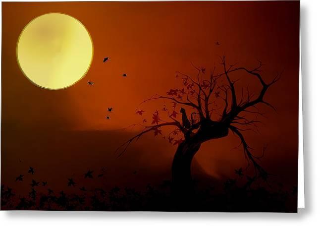Harvest Moon Greeting Card by Hazel Billingsley