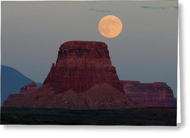 Harvest Moon Rising Over Tower Butte Greeting Card by Michel Hersen