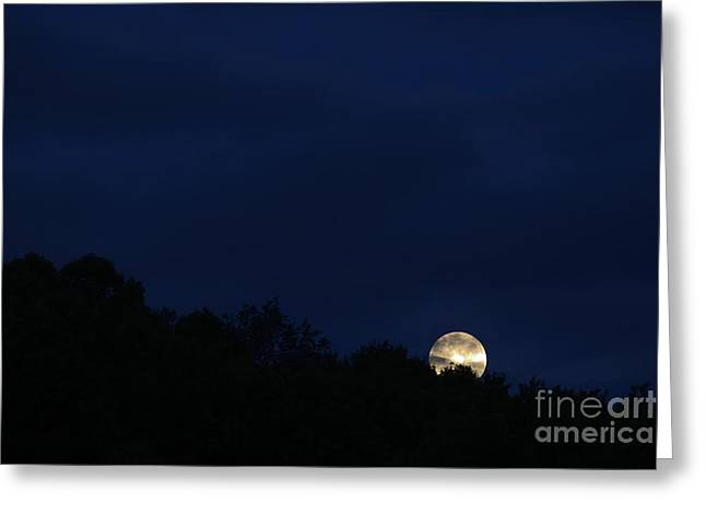 Harvest Moon Setting Greeting Card by Thomas R Fletcher