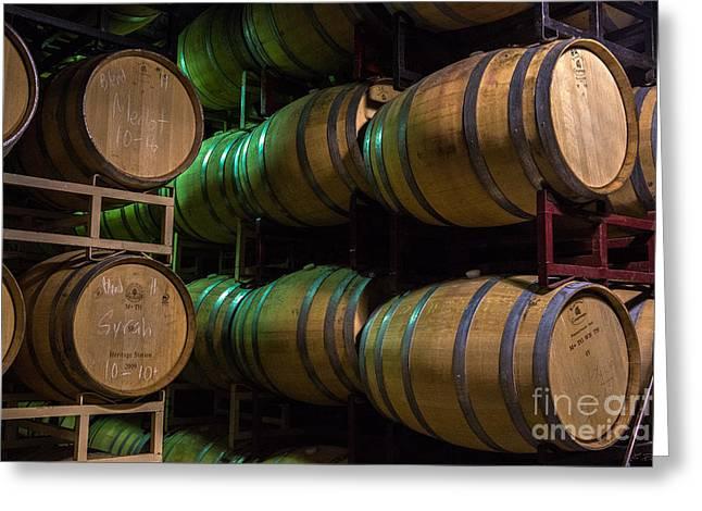 Harvest Resting Wine Barrels Greeting Card