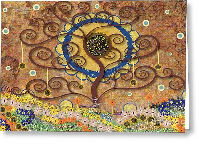 Greeting Card featuring the tapestry - textile Harvest Swirl Tree by Kim Prowse