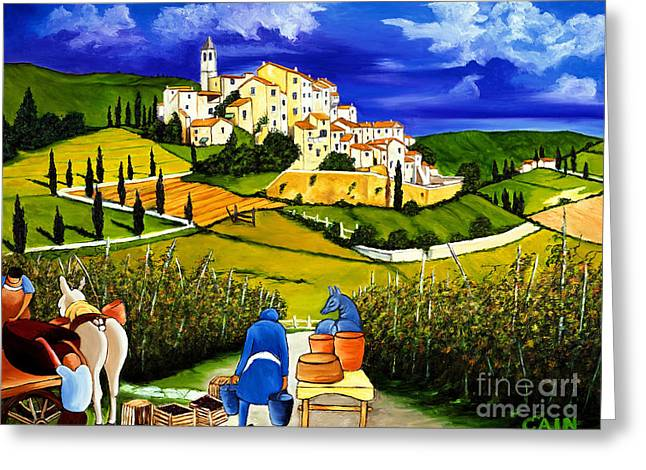 William Cain Greeting Cards - Harvest the Grapes Greeting Card by William Cain