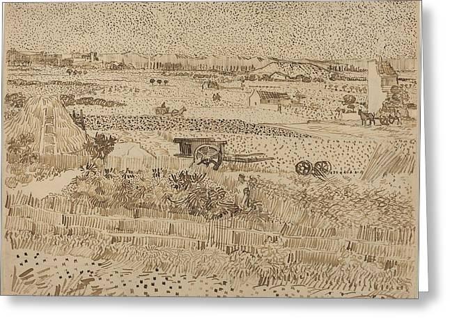 Harvest  The Plain Of La Crau Greeting Card