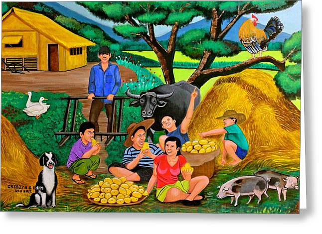 Greeting Card featuring the painting Harvest Time by Cyril Maza