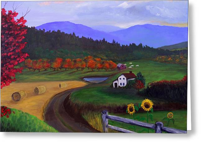 Greeting Card featuring the painting Harvest Time by Janet Greer Sammons