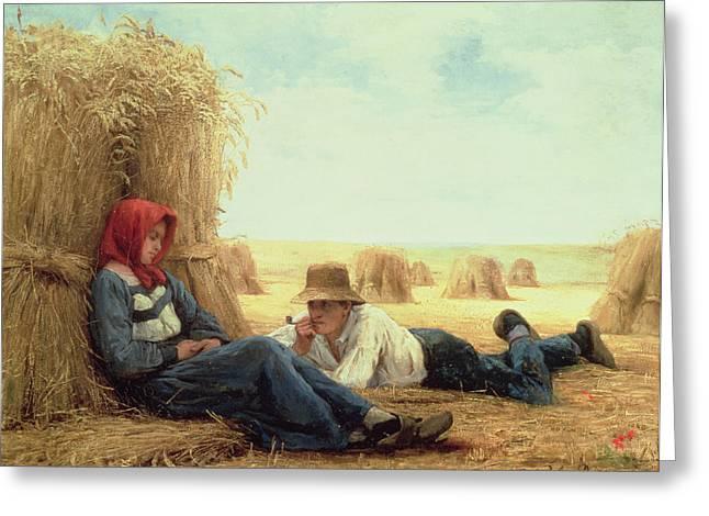 Harvest Time Greeting Card by Julien Dupre
