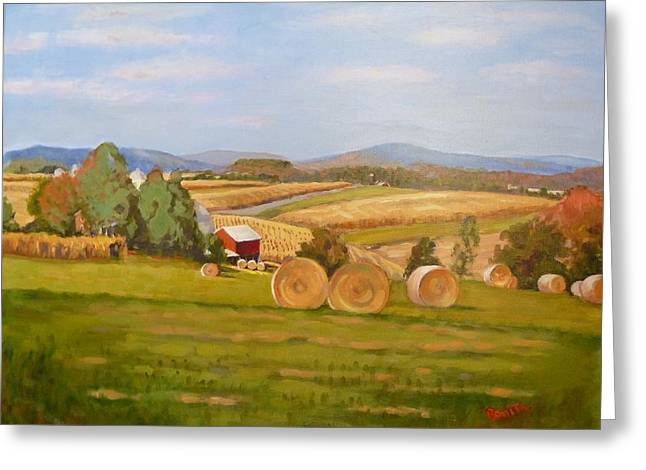 Harvest Time On Berger Hill Greeting Card
