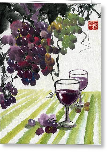 Greeting Card featuring the painting Harvest Time by Ping Yan