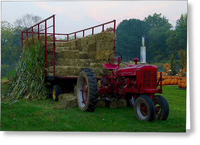 Harvest Time Tractor Greeting Card by Bill Cannon