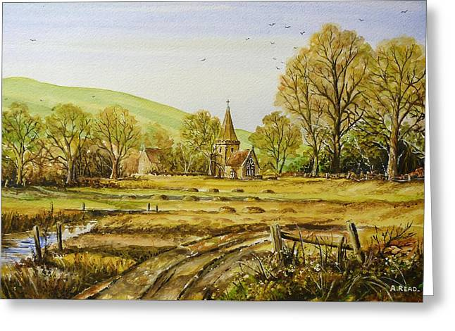 Harvesting Fields Greeting Card by Andrew Read