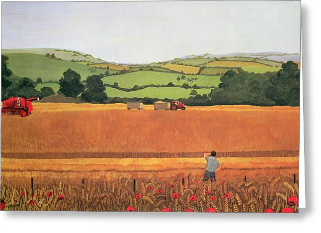 Harvesting In The Cotswolds Greeting Card by Maggie Rowe