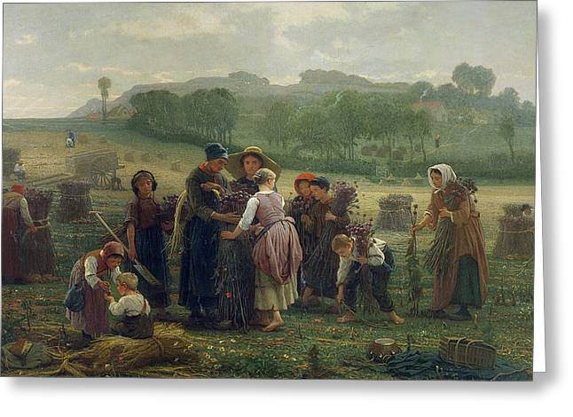 Harvesting Poppies In Picardy, 1860 Oil On Canvas Greeting Card