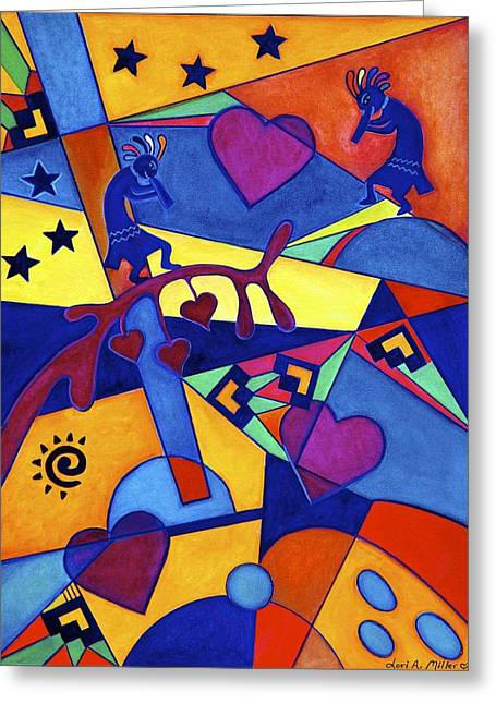 Harvesting The Love Kokopelli Art  Greeting Card