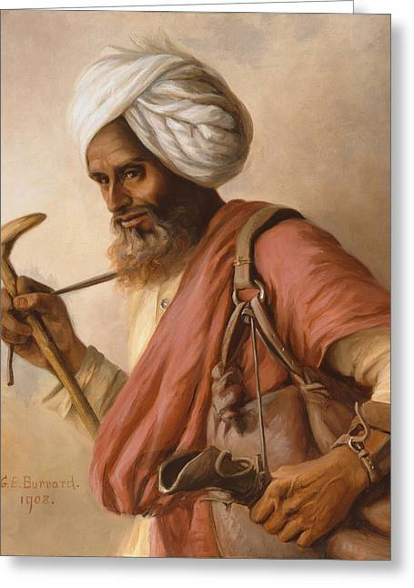 Hasan, Water Carrier To The Artist Greeting Card by Gertrude Ellen Burrard